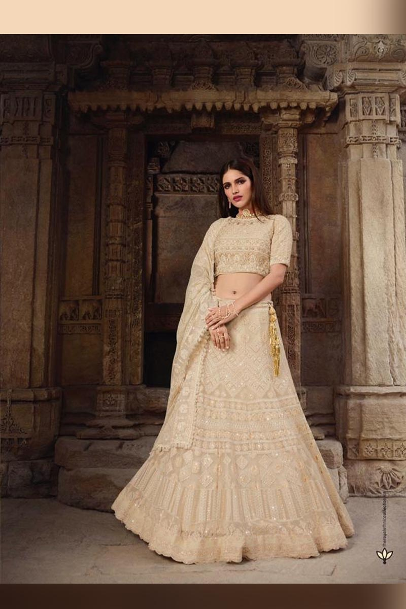 Cream Color Elegant Wedding Wear Designer Lehenga Choli