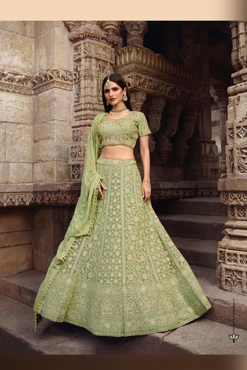 Parrot Green Color Elegant Wedding Wear Designer Lehenga Choli