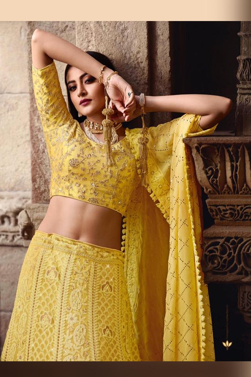 Lemon Yellow Color Elegant Wedding Wear Designer Lehenga Choli