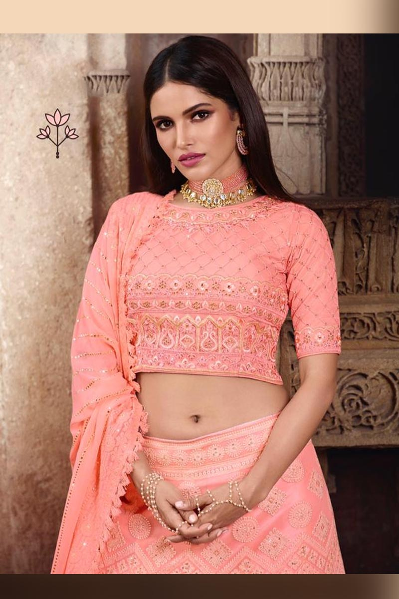 Pink Color Elegant Wedding Wear Designer Lehenga Choli
