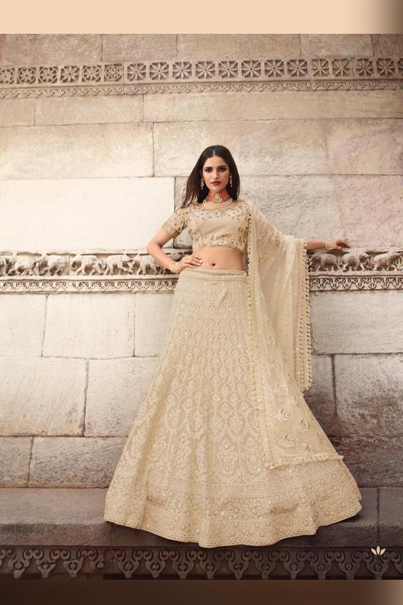 Elegant Wedding Wear Designer Lehenga Choli in Off white