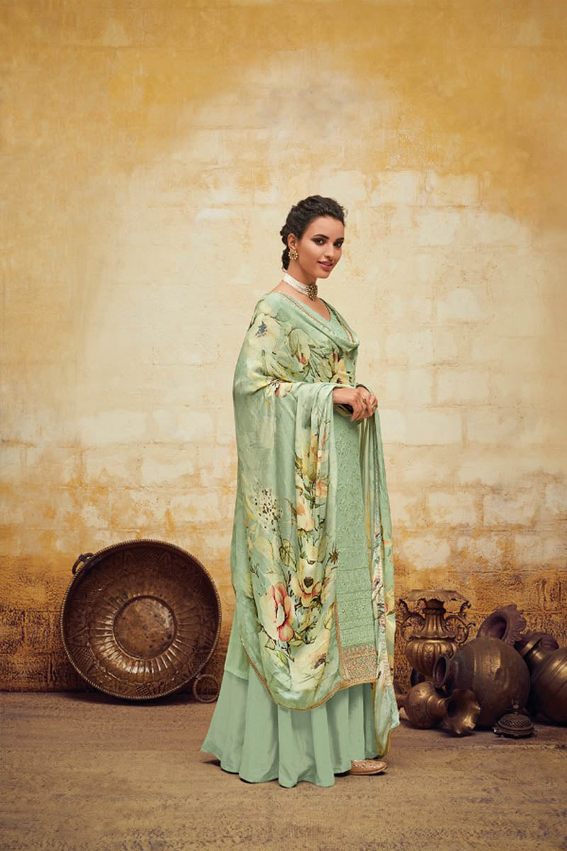 Beautiful Georgette Straight Salwar Suit In Light Green Colour