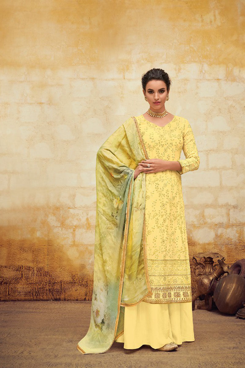 Beautiful Georgette Straight Salwar Suit In Yellow Colour