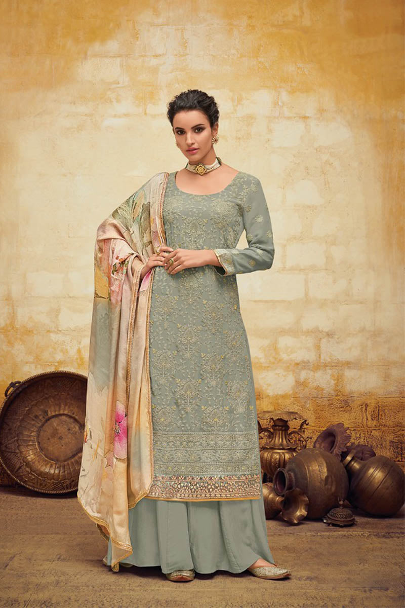 Beautiful Georgette Straight Salwar Suit In Grey Colour