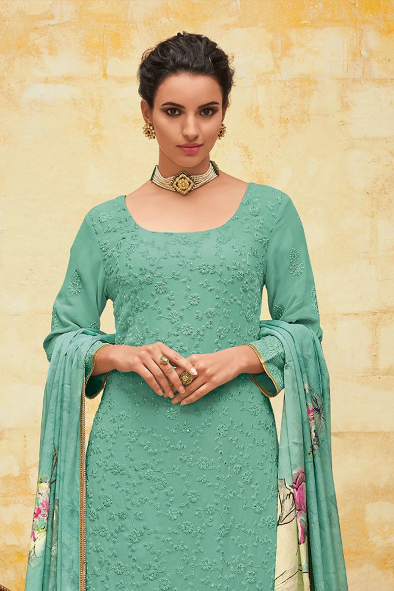Beautiful Georgette Straight Salwar Suit In Sea Blue Colour