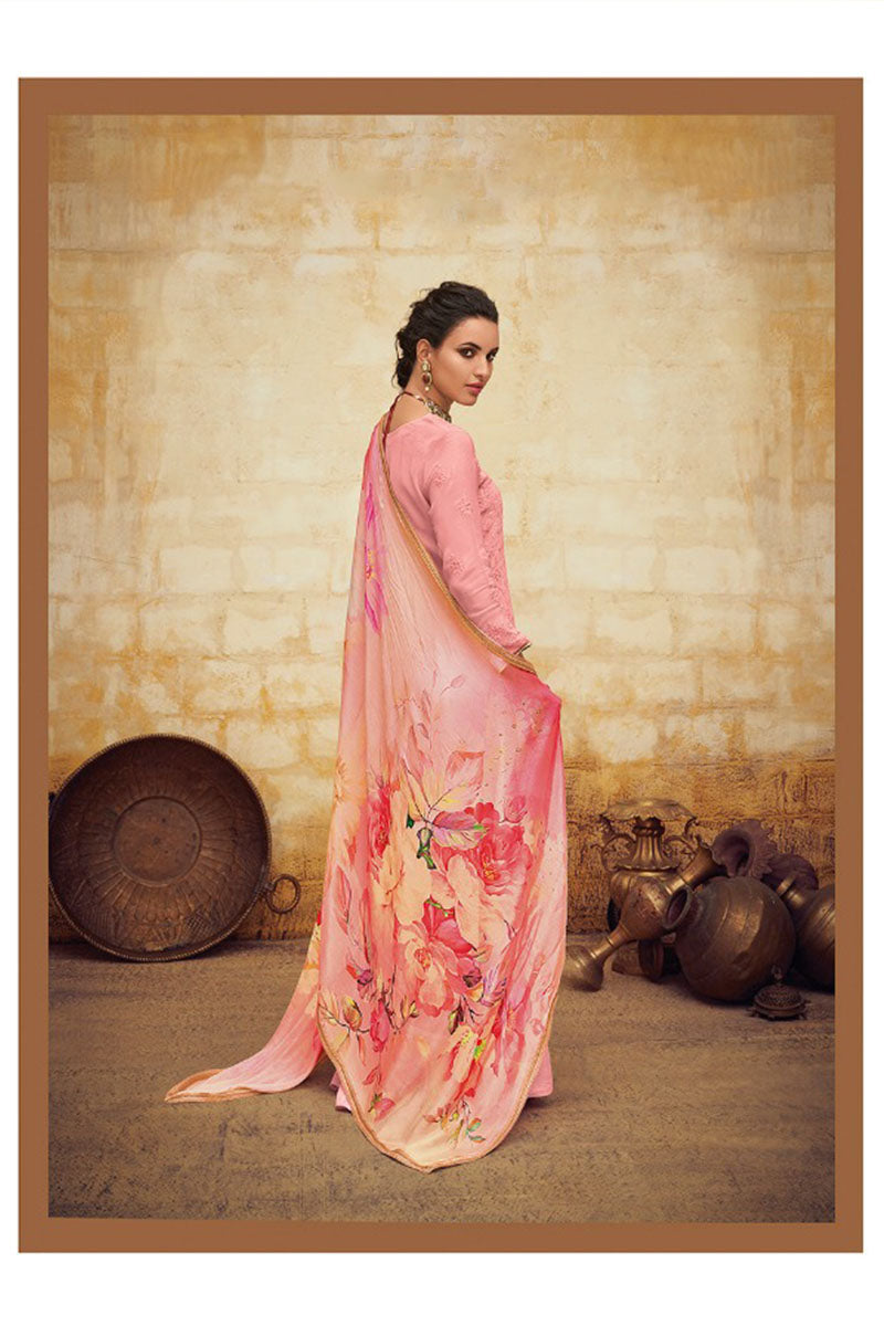 Beautiful Georgette Straight Salwar Suit In Light Pink Colour