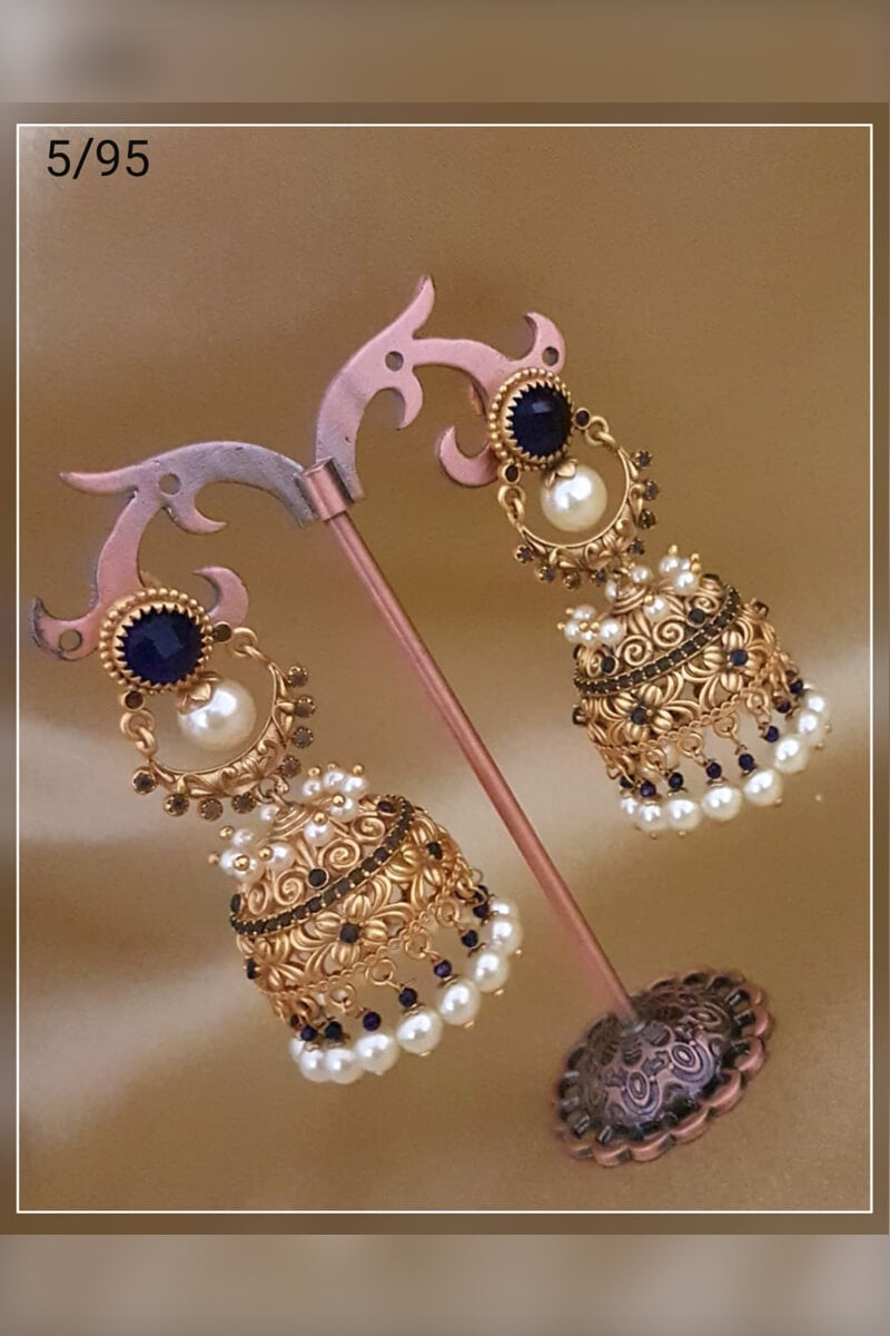 Atrractive Black Stones With White Pearl Party Wear Earrings