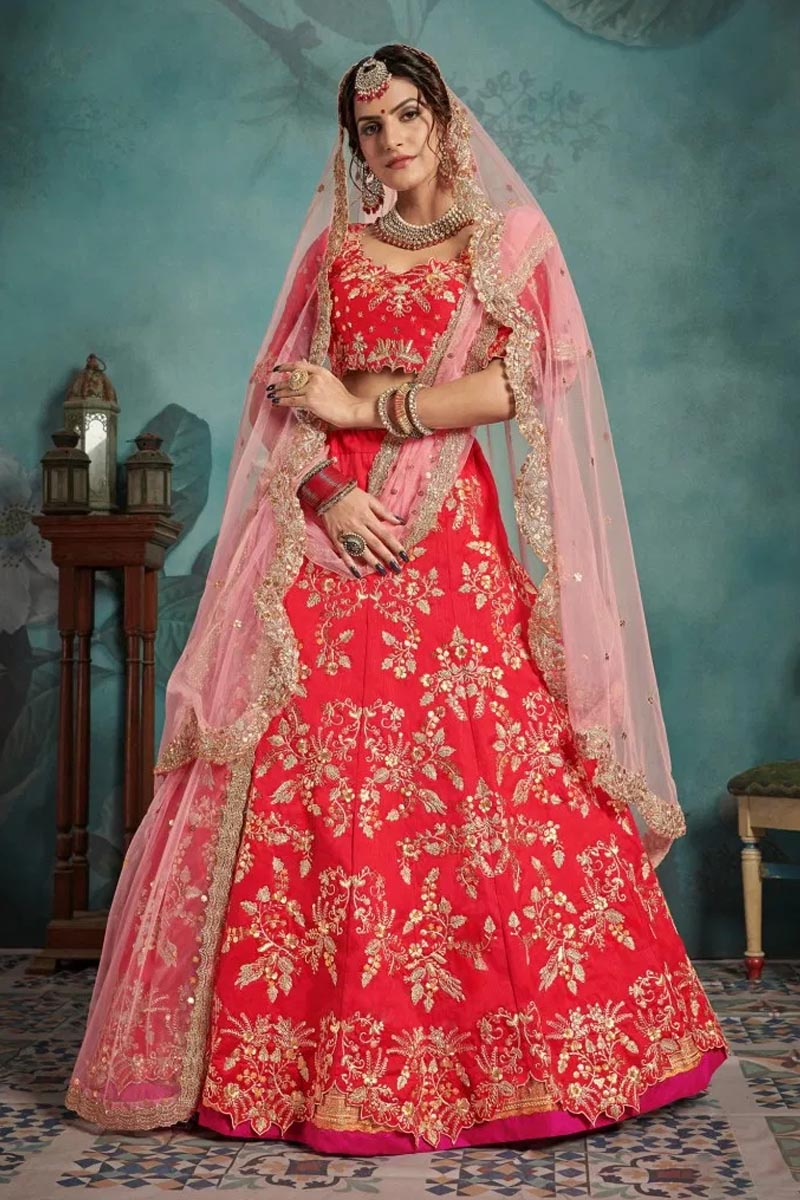 Designer Wear Lehenga Choli in Coral Red