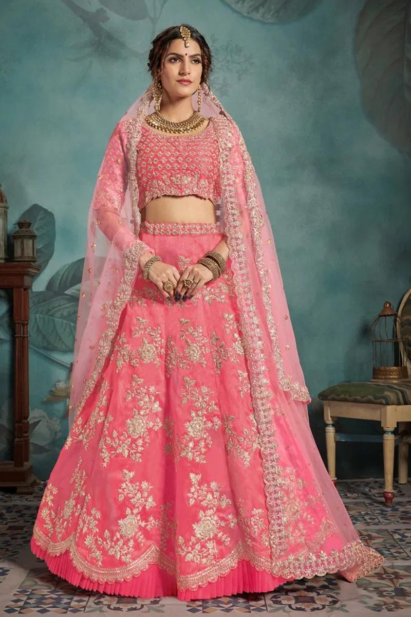Designer Wear Lehenga Choli in Baby Pink
