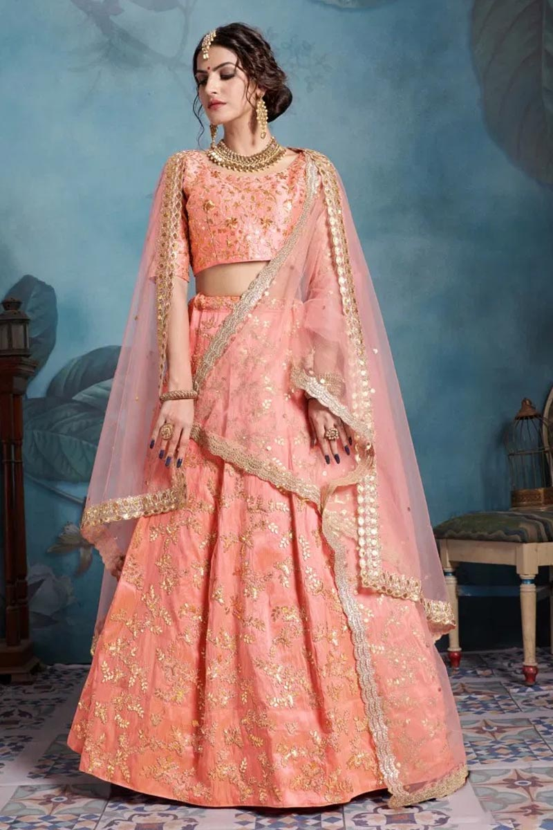 Designer Wear Lehenga Choli in Peach