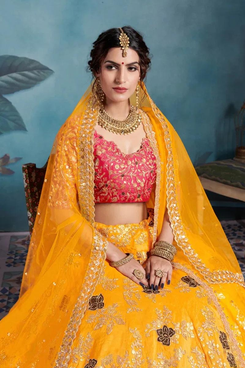 Designer Wear Lehenga Choli in Mustard Yellow.