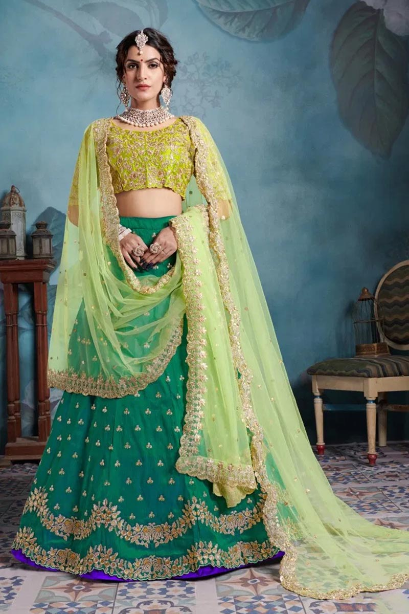 Designer Wear Lehenga Choli in Green