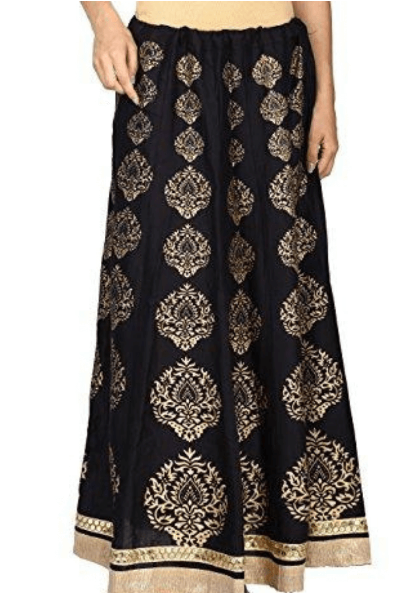 Gold Printed Long Flared Cotton Skirt