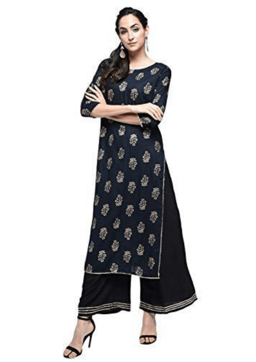 Women's Festive & Party Wear Rayon Gold Print Gota Lace Work Black Straight Kurta Palazzo Set
