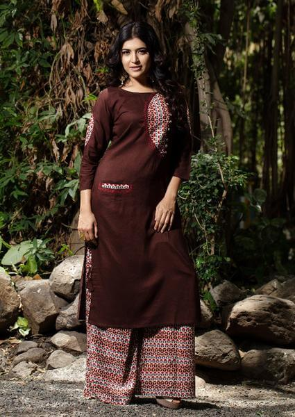 Brown Palazzo Pants With Dark Brown Kurti To Give Desi Chic Look