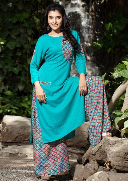 Blue Palazzo Pants With Aqua Blue Kurti To Give Desi Chic Look
