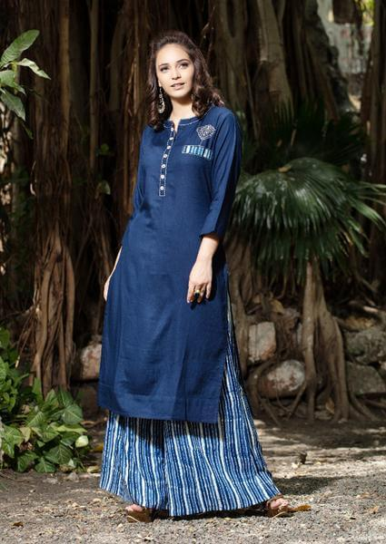 Blue Palazzo Pants With Navy Blue Kurti To Give Desi Chic Look