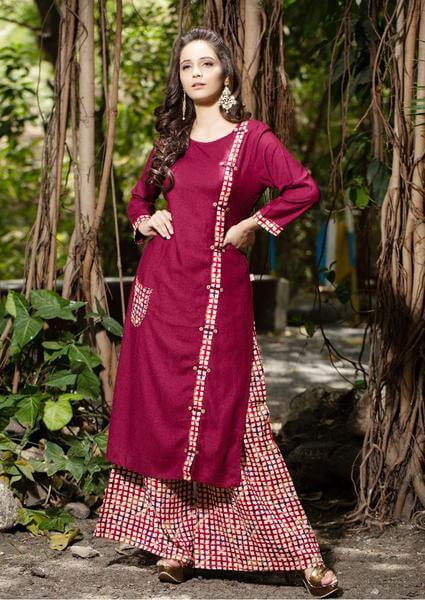 Red Palazzo Pants With Wine Red Kurti To Give Desi Chic Look