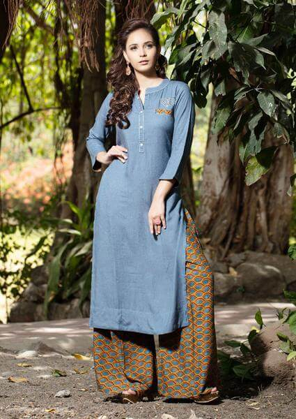 Brown Palazzo Pants With Sky Blue Kurti To Give Desi Chic Look