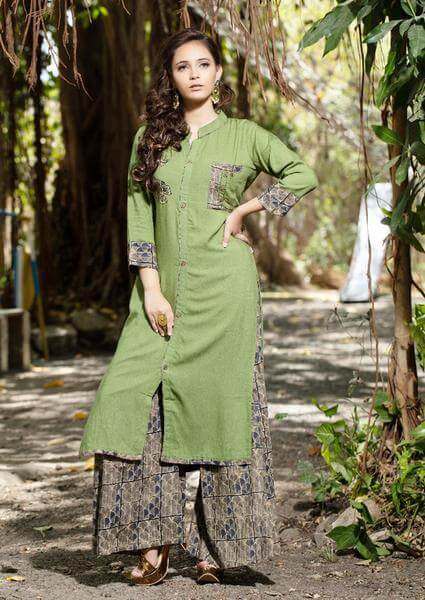 Grey Palazzo Pants With Light Green Kurti To Give Desi Chic Look