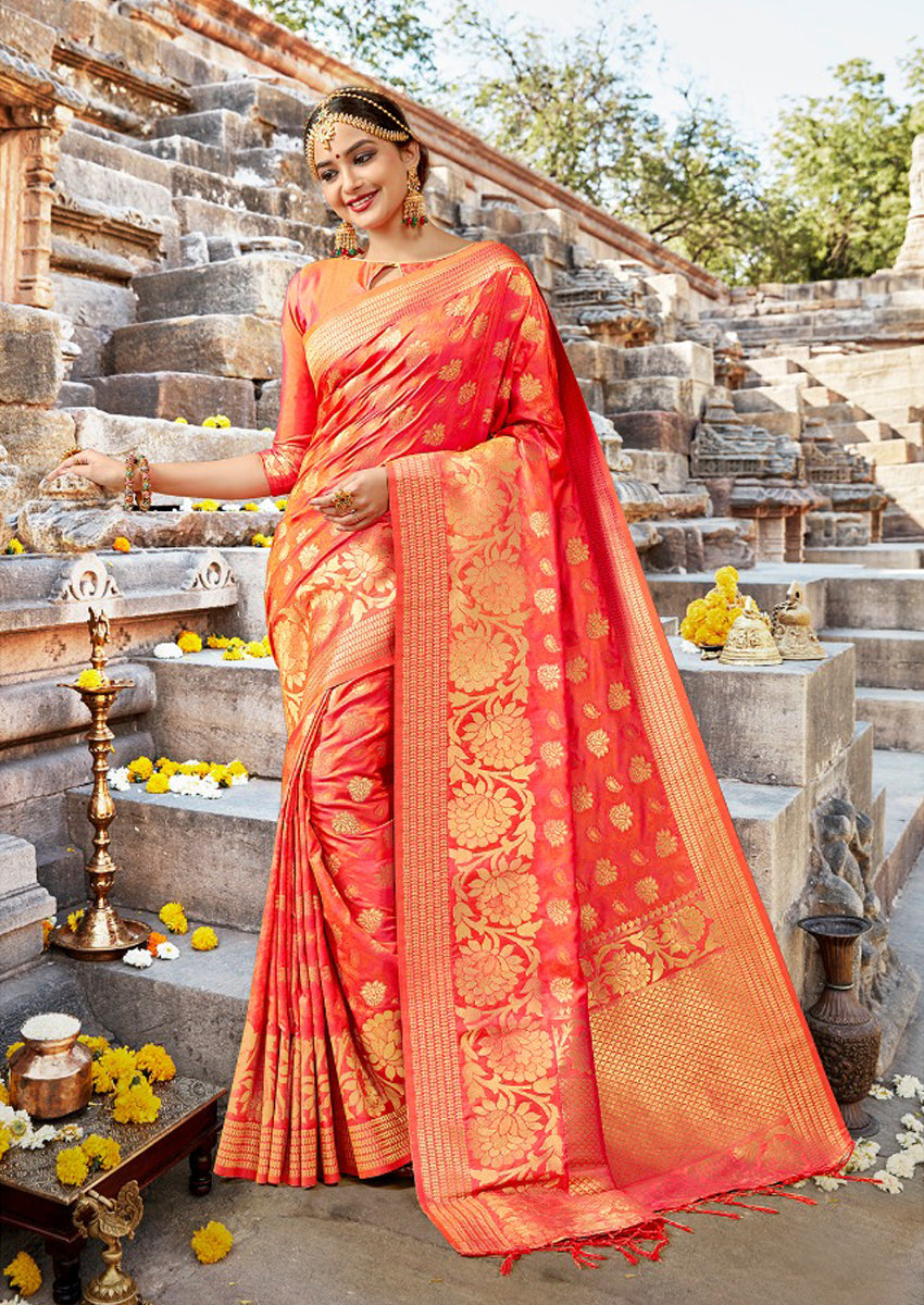 ee9ed0e1ee19a Scarlet Orange Banarasi Saree – India Ethnics