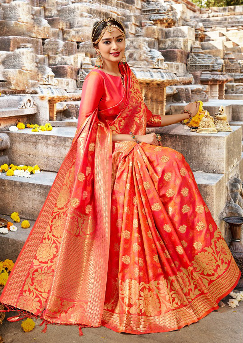 Scarlet Orange Banarasi Saree
