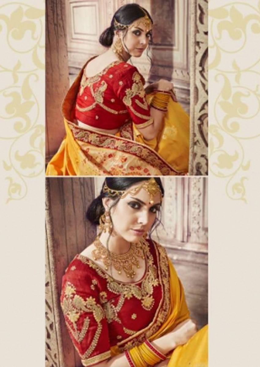 Yellow & Red Embroidered Banarasi Silk Sarees For All Occasion