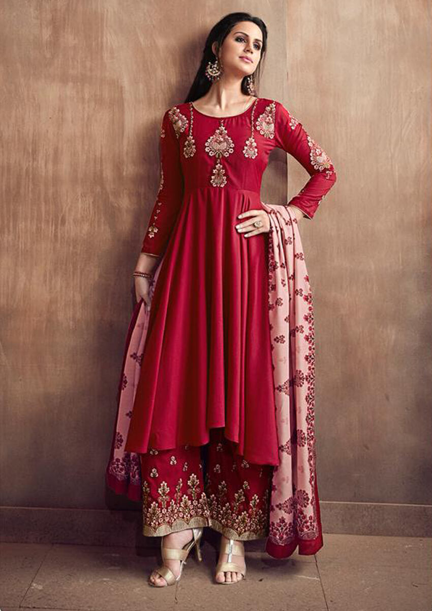 Muslin Cotton Heavy Embroidery Stitched Salwar Suit in Maroon