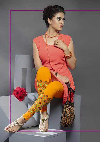 Women Stylish Print Look Leggings in Mustard Colour