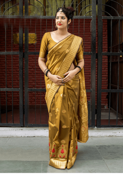 Attractive Dark Golden Color Banarasi Silk Designer Saree