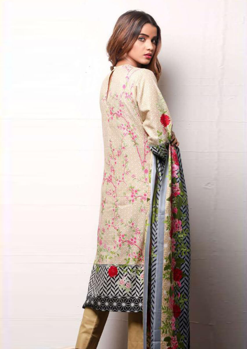 Beige Beautiful Digital Printed Cotton Suit for Women