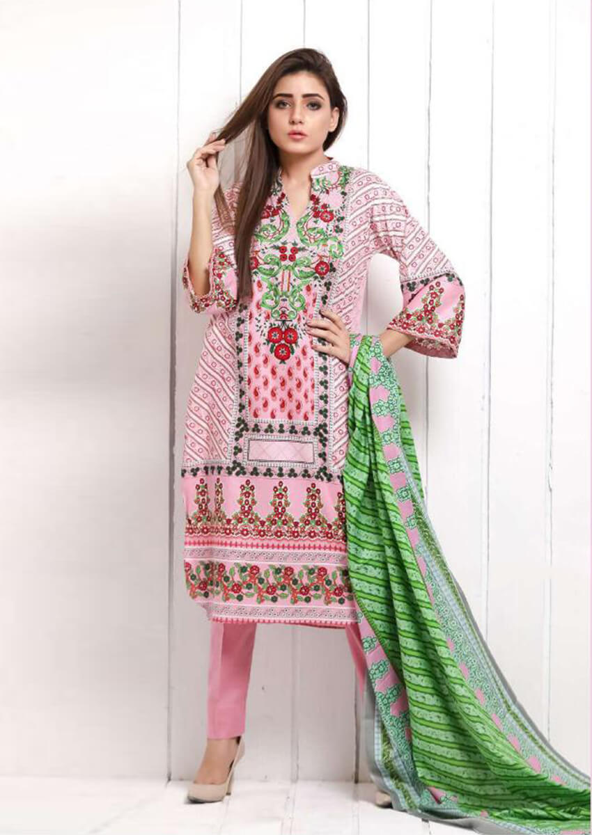 Baby Pink Beautiful Digital Printed Cotton Suit for Women