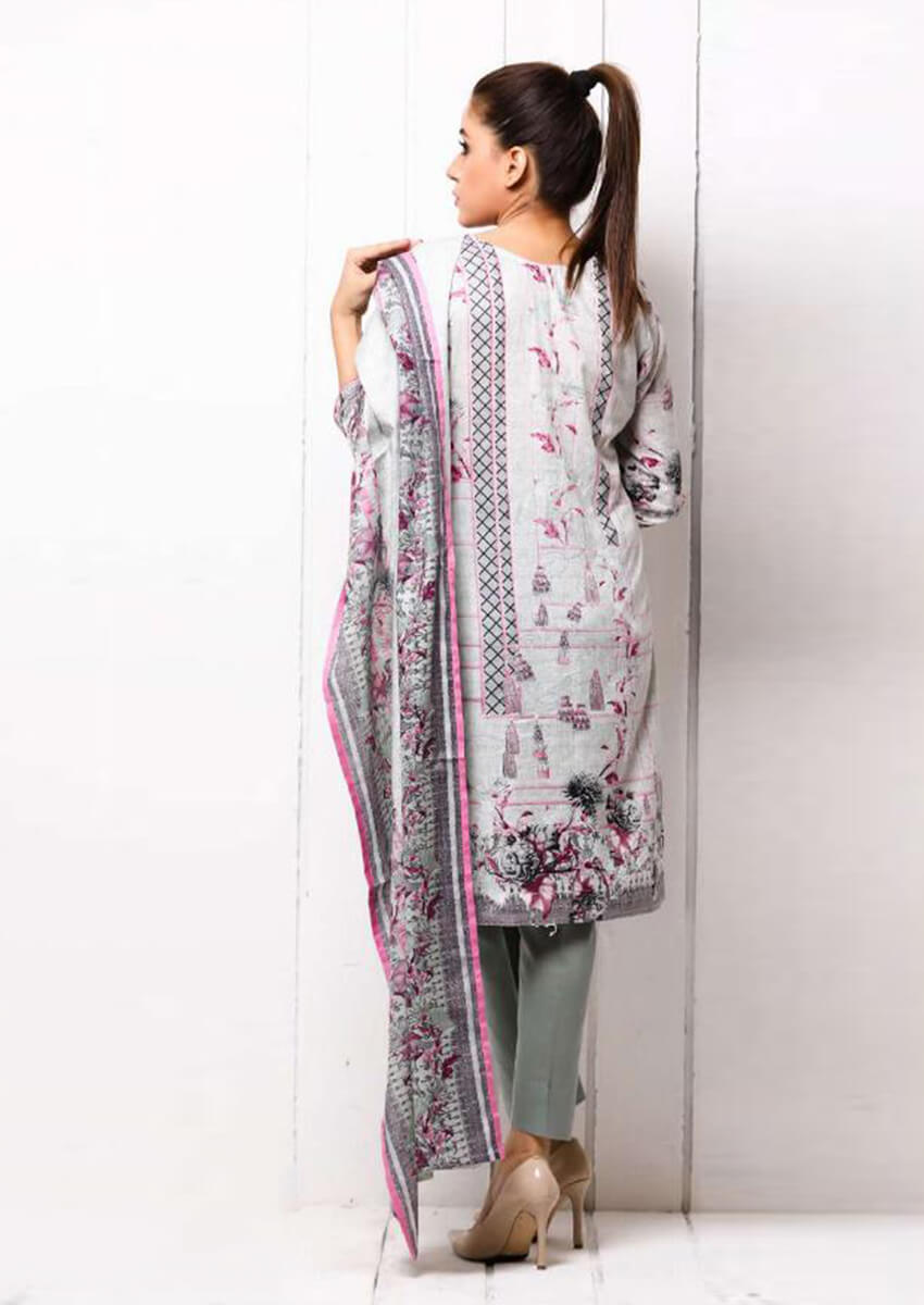 Light Grey Beautiful Digital Printed Cotton Suit for Women