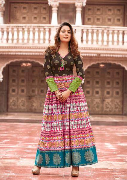Awesome Design Dark Brown & Pink Colored Lawn Cotton Print Kurti