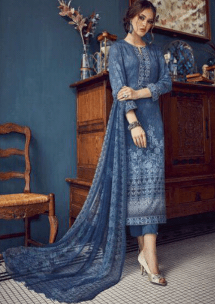 Kashmir Blue Digital Printed Salwar Kameez Set