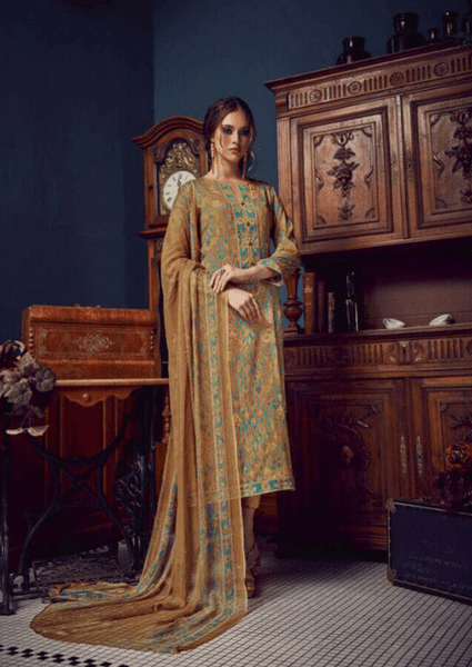 Light Brown Blue Digital Printed Salwar Kameez Set
