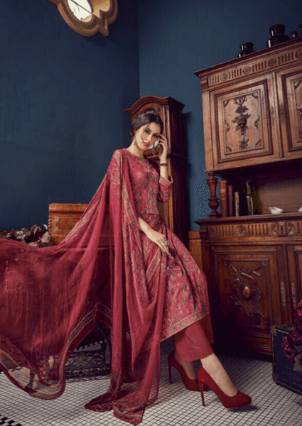 Maroon Digital Printed Salwar Kameez Set