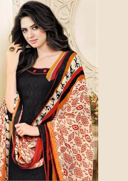Black & Red Lakda Jacquard Cotton Salwar Suit Material