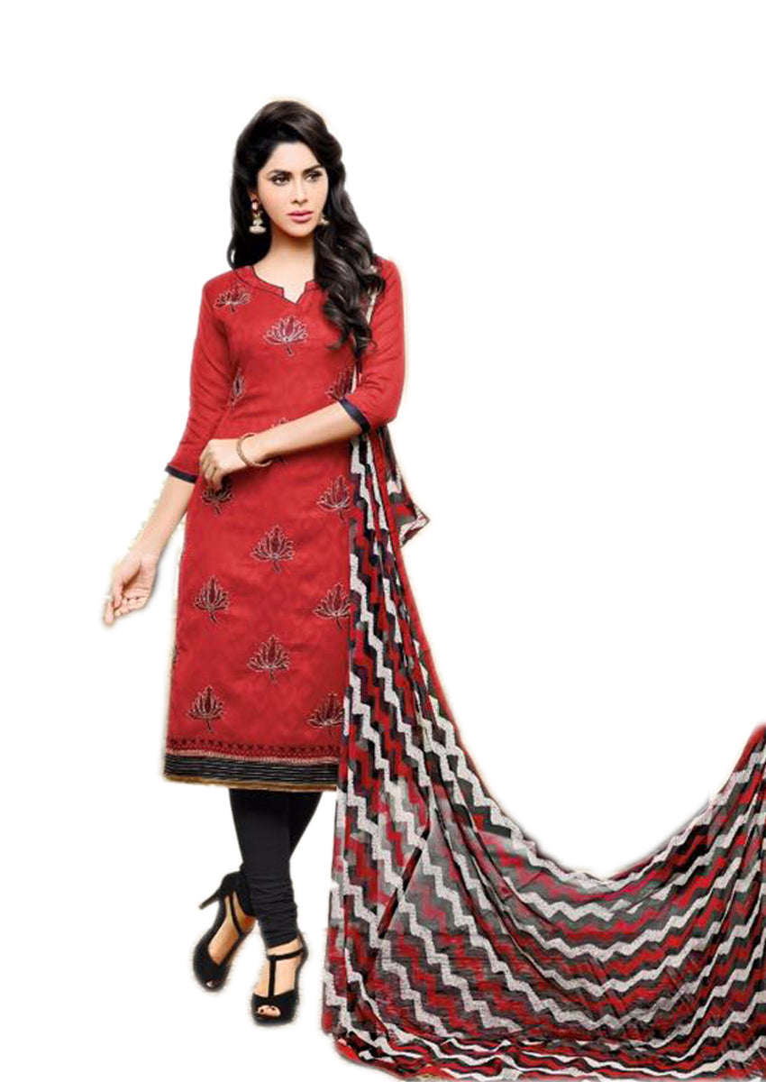 Red Jacquard Cotton Salwar Suit Material