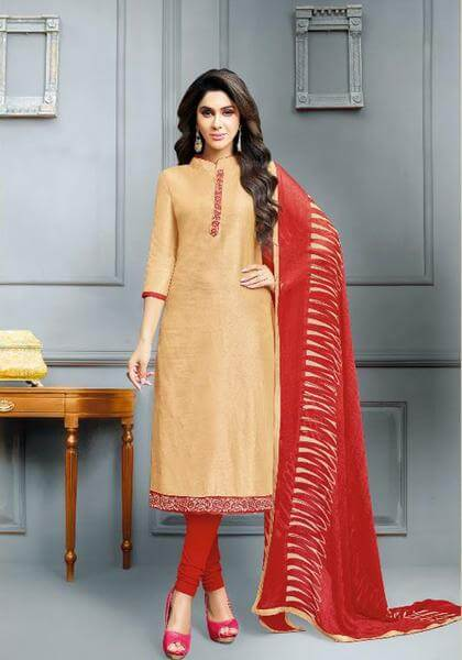 Beige Elegant Banarasi Cotton Dress