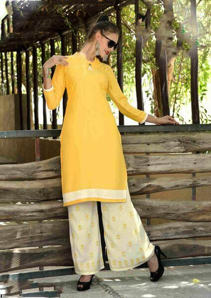 Golden Yellow Dressy Kurti with Embroidered Palazzo