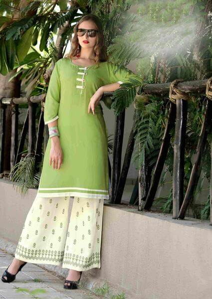 Pistachio Green Dressy Kurti with Embroidered Palazzo