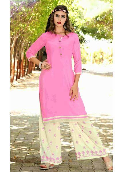 Hot Pink Dressy Kurti with Embroidered Palazzo