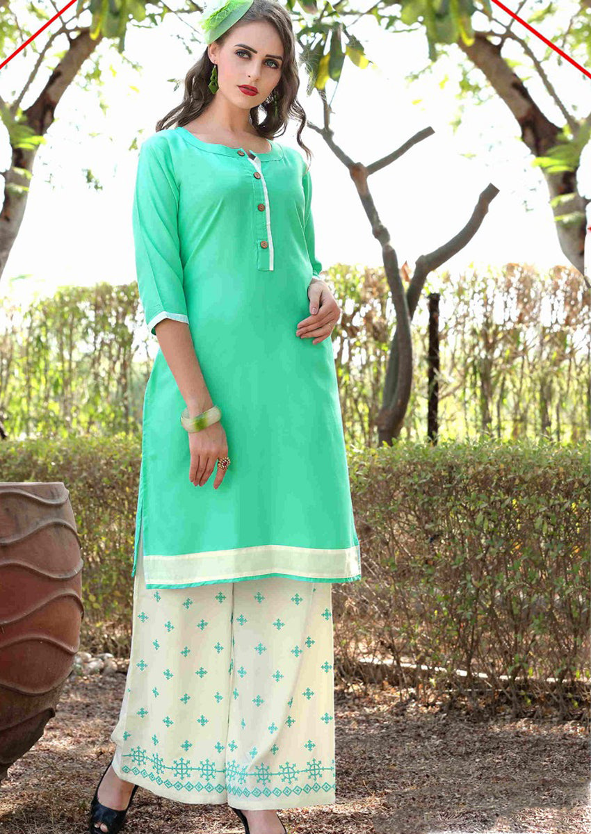 Spring Green Dressy Kurti with Embroidered Palazzo