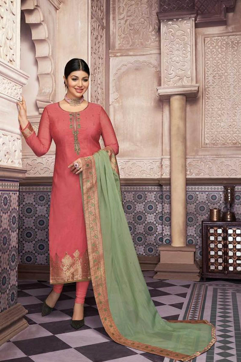 Lovely Pink Color Party Wear Straight Suit