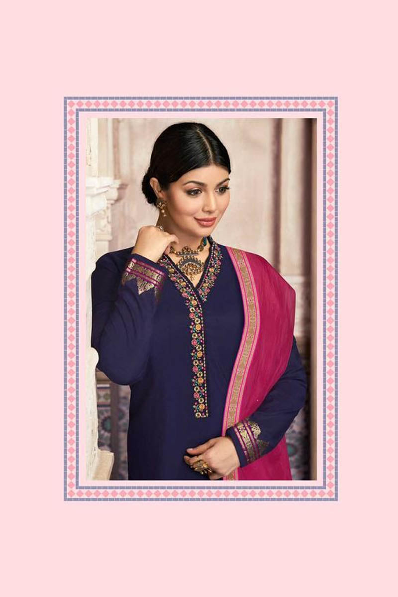 Lovely Dark Blue Color Party Wear Straight Suit