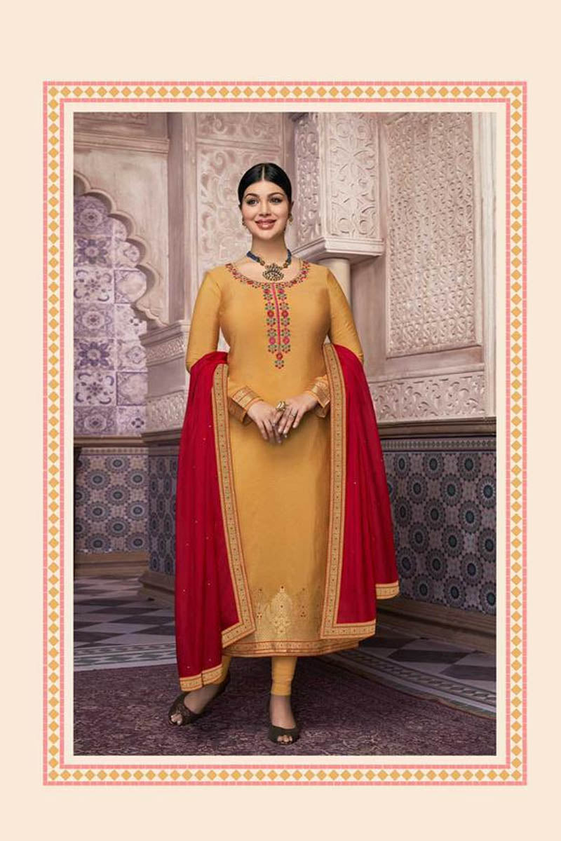 Lovely Yellow Color Party Wear Straight Suit