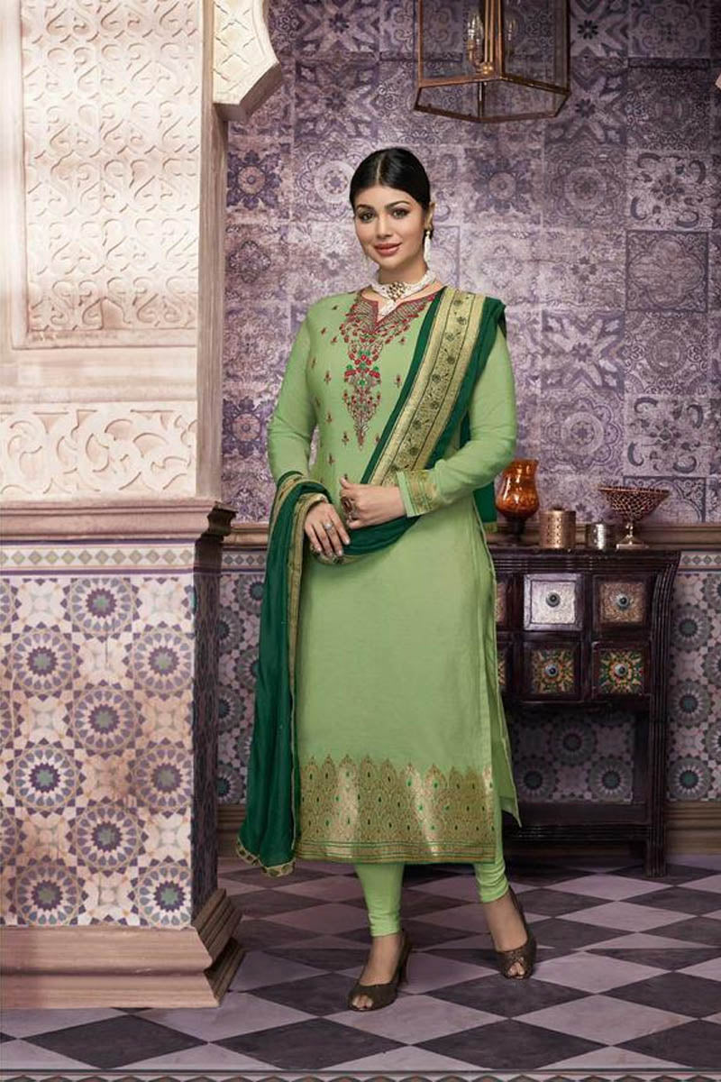 Lovely Light Green Color Party Wear Straight Suit