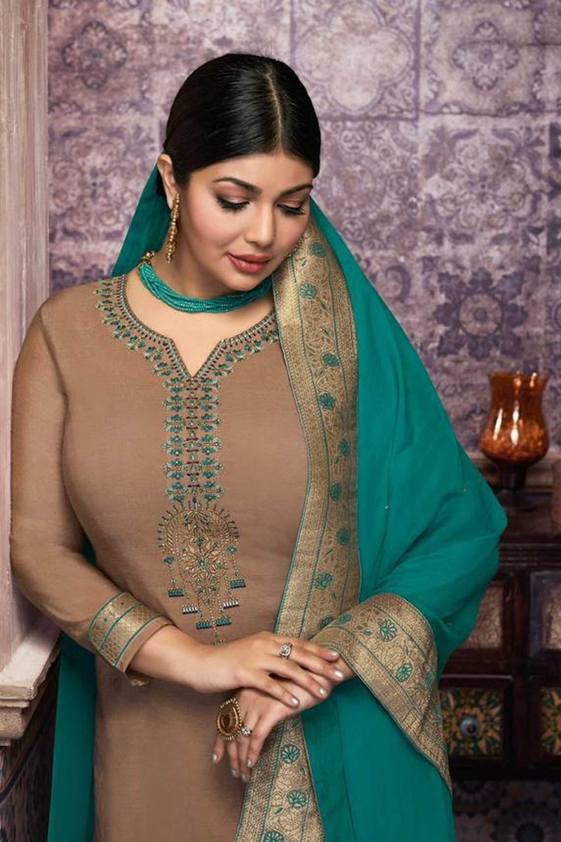 Lovely Brown Color Party Wear Straight Suit