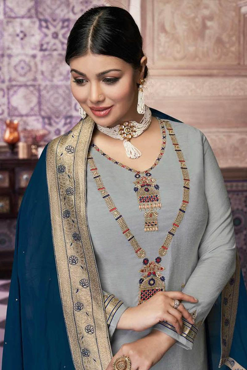Lovely Light Grey Color Party Wear Straight Suit